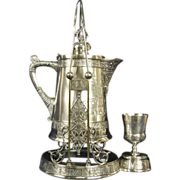 Pairpoint Victorian Silverplate 1892 Antique Tilting Pitcher or Kettle, Goblet