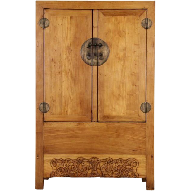 Chinese Carved Elm Antique 1900 S Armoire Or Cabinet From