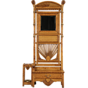 Hall Stand & Bench, Cane & Umbrella Holder, 1891 Antique Carved Birdseye Curly