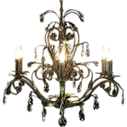 Chandelier, Antique Pewter, 6 Candles & Prisms