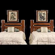 Pair of Arts & Crafts Vintage Craftsman Twin Beds