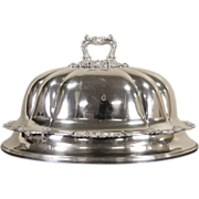 """English Signed """"Alston, London"""" Silverplate Antique 1900 Meat Serving Dome"""