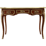 French Louis XV Style Vintage Rosewood Writing Desk, Leather & Brass Mounts