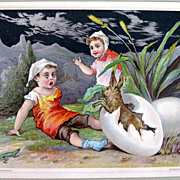 Chromolithograph Embossed Card Easter Theme