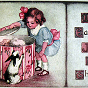 Easter Postcard Girl With Hat Box-Rabbit