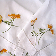 SOLD Silk Society  Tablecloth With California Poppy