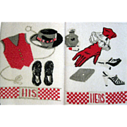 SALE His And Hers Vintage Terry Guest Towel
