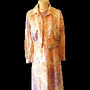 Retro Psychadelic Fitted Maxi Dress w Bolero Jacket