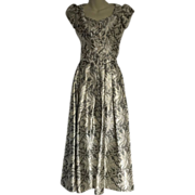 SALE Stunning Silver & Gold Brocade Metallic Two Piece Formal Gown