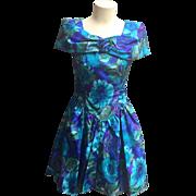 SALE Vintage Taffeta Party Dress in Green, Blue & Purple Watercolors