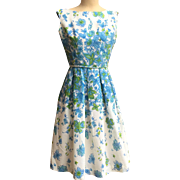 Vintage Crepe Silk 1960's Blue & Green Floral Dress