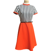 SALE Retro Mod Orange Dress w/ Black & White Striped Bodice