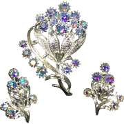 Coro Floral Sparkling Blue Aurora Borealis Rhinestone Brooch & Earrings