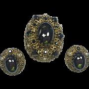 Western Germany Brooch & Rhinestone Earrings w Hematite Cabochons & Rhinestones
