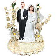 SALE Chalkware Bride & Groom Wedding Cake Topper w Display Dome & Paper Flowers