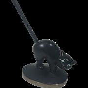 Folk Art Black Cat w Arched Back & Long Stick Tail