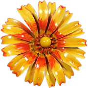 SALE Large Sunny Orange Enamel Flower Brooch