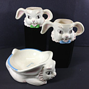 SALE 1950's Ceramic Bunny Rabbit Baby Dish & Cups