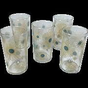 SALE Turquoise & Tan Vintage Atomic Sunburst 8 Ounce Beverage Glasses