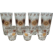 SOLD Mauve & Gold Vintage Atomic Sunburst Beverage & Shot, Cordial Glasses