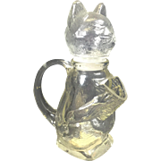 SOLD Vintage Glass Cat Bottle Candy Container