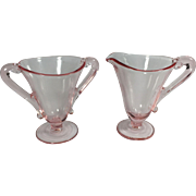 Elegant Pink Depression Era Glass Sugar & Creamer