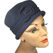 SOLD Gray Wool Cloche Hat w Rolled Brim & Rose