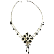 SALE Stunning Black Marquise Rhinestone Pendant Necklace w Drops & Scallops