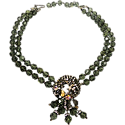 SALE Elegant Double Strand Smoky Crystal Necklace w Rose Montee's Floral Crescent Design