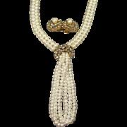 Sophisticated & Feminine Unsigned Florenza Rhinestone & Faux Pearl Bolero Necklace &am