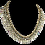 SALE Dazzling Aurora Borealis Crystal, Rhinestone & Faux Pearl Necklace