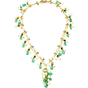 Drippy Kramer Necklace w Golden Branches w Clusters of Glass Leaves & Faux Pearls