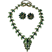 SALE Fabulous Perdiot & Bright Green Layered Rhinestone Necklace & Earrings