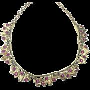 SALE Coro Vintage Modern Electro Pink Rhinestone Necklace