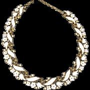 SALE Trifari White Enamel Garden Party Choker Necklace
