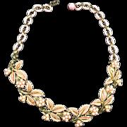 SALE Floral Pink Enamel & Bead Choker Necklace