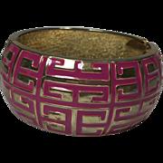 Huge Pink & Gold Hinged Cuff Bracelet w Grecian Key Design