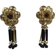 SALE Gold & Black Floral Earrings w Bugle Bead Drops