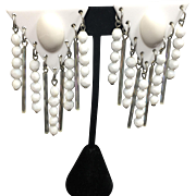 SALE Funky White Mod Earrings w Glass Drops
