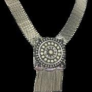 Heavy Silver Mesh Necklace w Ornate Celtic Medallion & Fringe