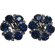 Sparkling Midnight & Ice Blue Kramer Rhinestone Earrings
