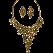 Glittering Drippy Gold Aurora Borealis Rhinestone & Bead Bib Necklace & Earrings