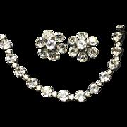 Vintage Weiss Heart Shaped Rhinestone Diamente Bracelet & Earrings
