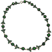 Art Nouveau Green Floral Rhinestone & Enamel Necklace
