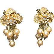 SOLD Vintage Lois Ann Rhinestone, Faux Pearl & Glass Bead Earrings