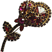 Vintage Juliana D & E Red & Pink Tourmaline Rivoli Flower Brooch