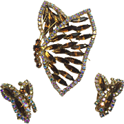 Large Shimmering Sideways Juliana Root Beer Rhinestone Butterfly Brooch & Earrings