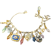 Vintage Monet Charm Bracelet w Fourteen Cool Charms