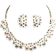So Feminine Pink and White Floral Necklace & Earrings