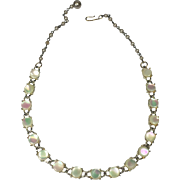 SALE Simply Elegant Mother of Pearl Studded Necklace w Faux Pearl Chain